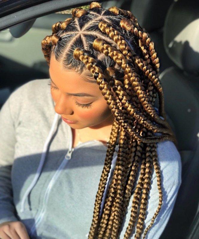 Golden Blonde Box Braids With Rubber Bands Cornrowbraids Box Braids Hairstyles For Black Women Braided Hairstyles Easy Box Braids Hairstyles