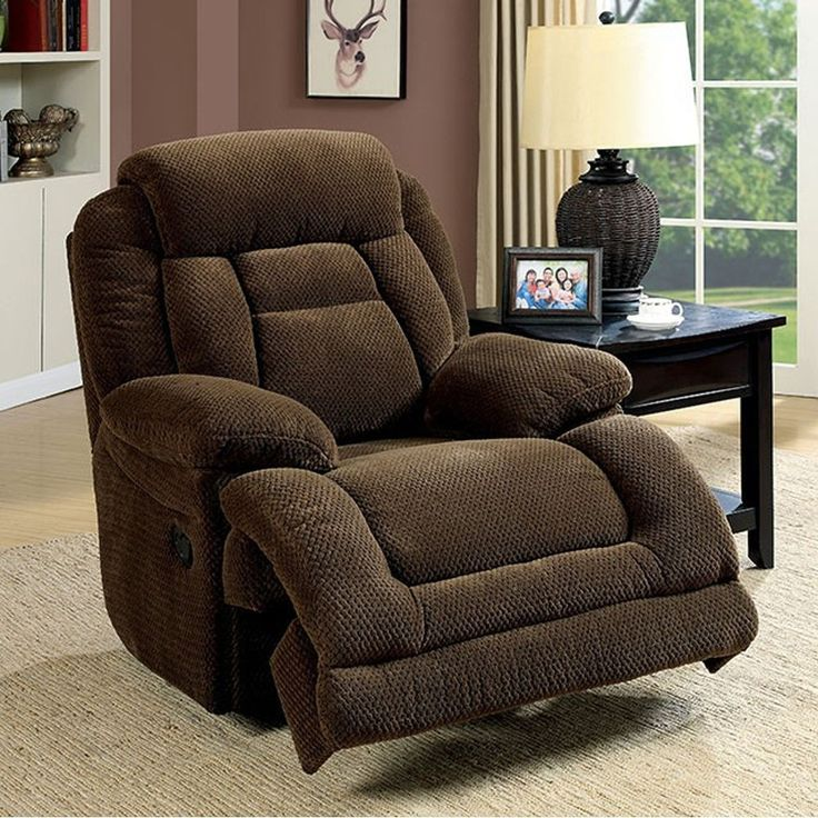 Benzara Grenville Transitional Glider Recliner Single Chair, Dark Brown Finish, Size Standard (Polyester)