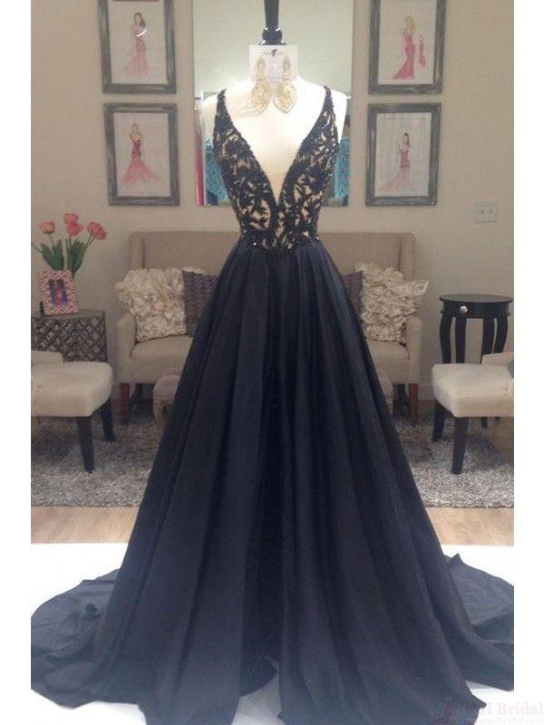 v-neck black prom dresses, long satin evening dresses #SIMIBridal #promdresses