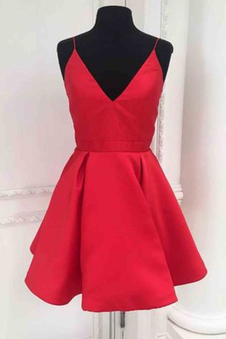 Cute red satin prom dress, homecoming party dress, short prom dress for teens