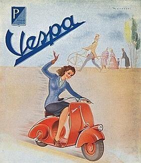 Vespa-Plakat der                         1950er Jahre mit Brünette