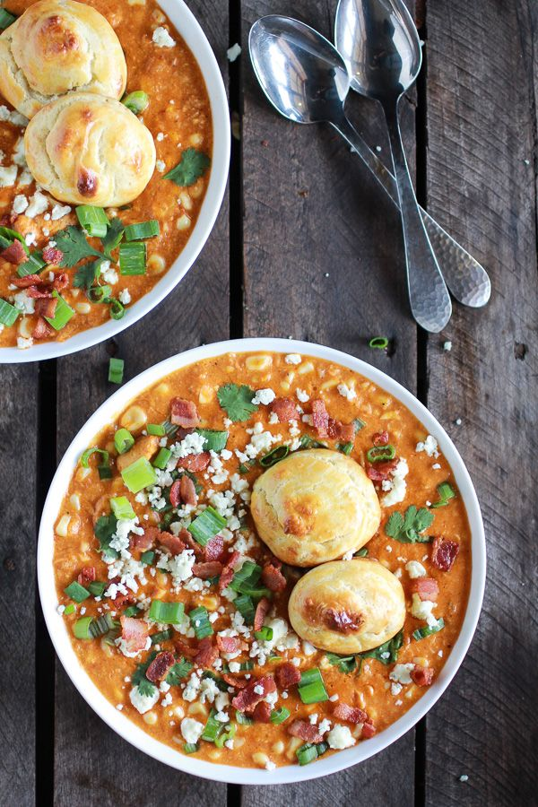 Buffalo Chicken Corn Chowder with Blue Cheese Gougères | halfbakedharvest.com