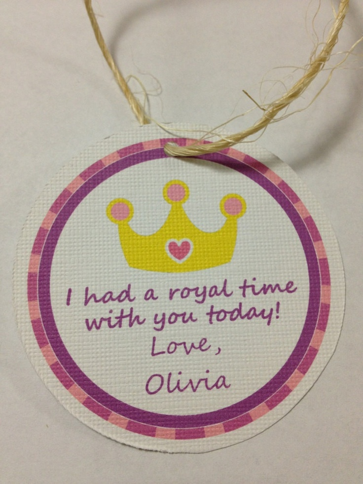 Birthday Party Favor Tags 12 Princess Party by AdorableAffair