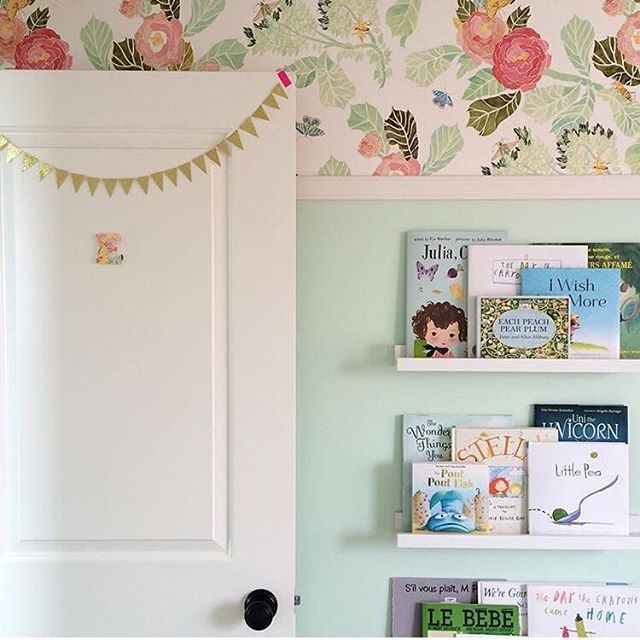 Oh, hello sweet lovely girls room! Love how this watercolor peony wallpaper from @anthropologie pairs with this mint paint.   : @saturdaystheblog - thanks for sharing!