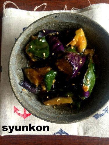 【レンジで一発!副菜】ジップロック1つで*なすとピーマンの甘辛みそ の画像|山本ゆりオフィシャルブログ「含み笑いのカフェごはん『syunkon』」Powered by Ameba
