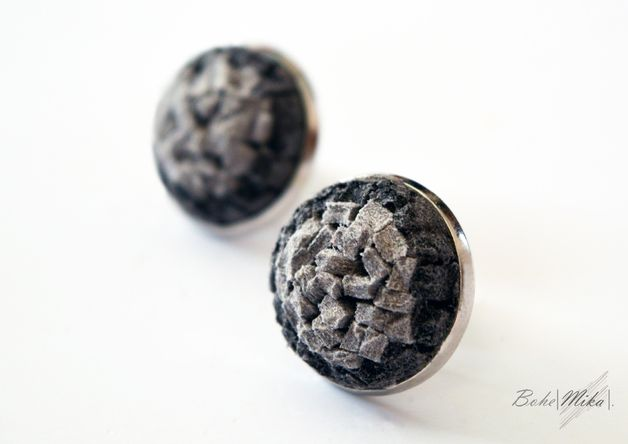 Earthy colours  at DaWanda Fabric Stud Earrings – Silver gray studs – a unique product by BoheMIKA on DaWanda