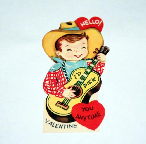 Vintage Valentine Card Cowboy Guitar Be My Valentine