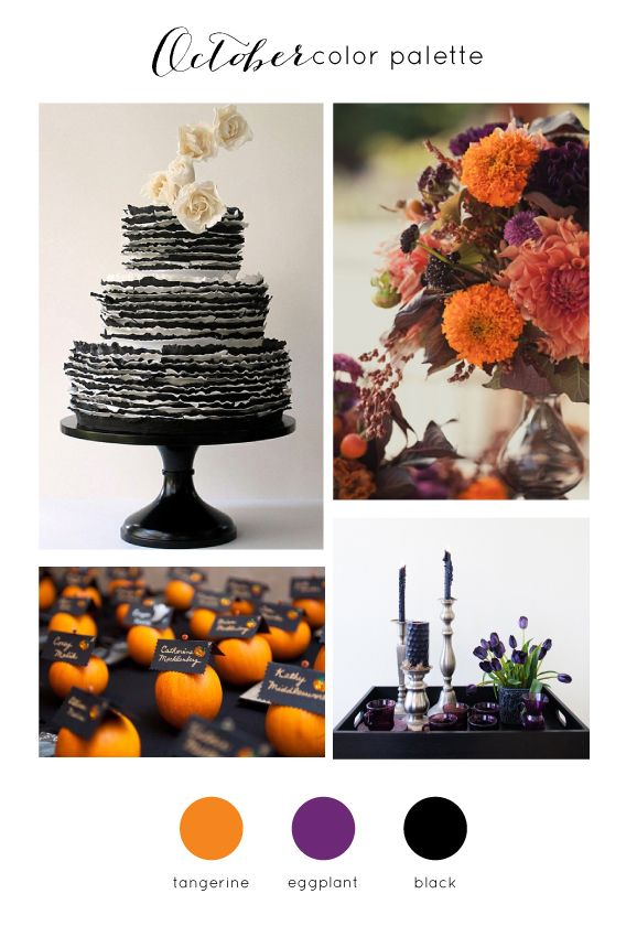 Halloween inspired October Wedding Color Palette