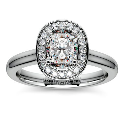 Love the Halo setting but can't choose from the myriad style options available? Check out this exquisite Cushion diamond stunner in Platinum from our preset Engagement Ring selection! http://www.brilliance.com/engagement-rings/halo-diamond-preset-engagement-ring-platinum-1-ctw