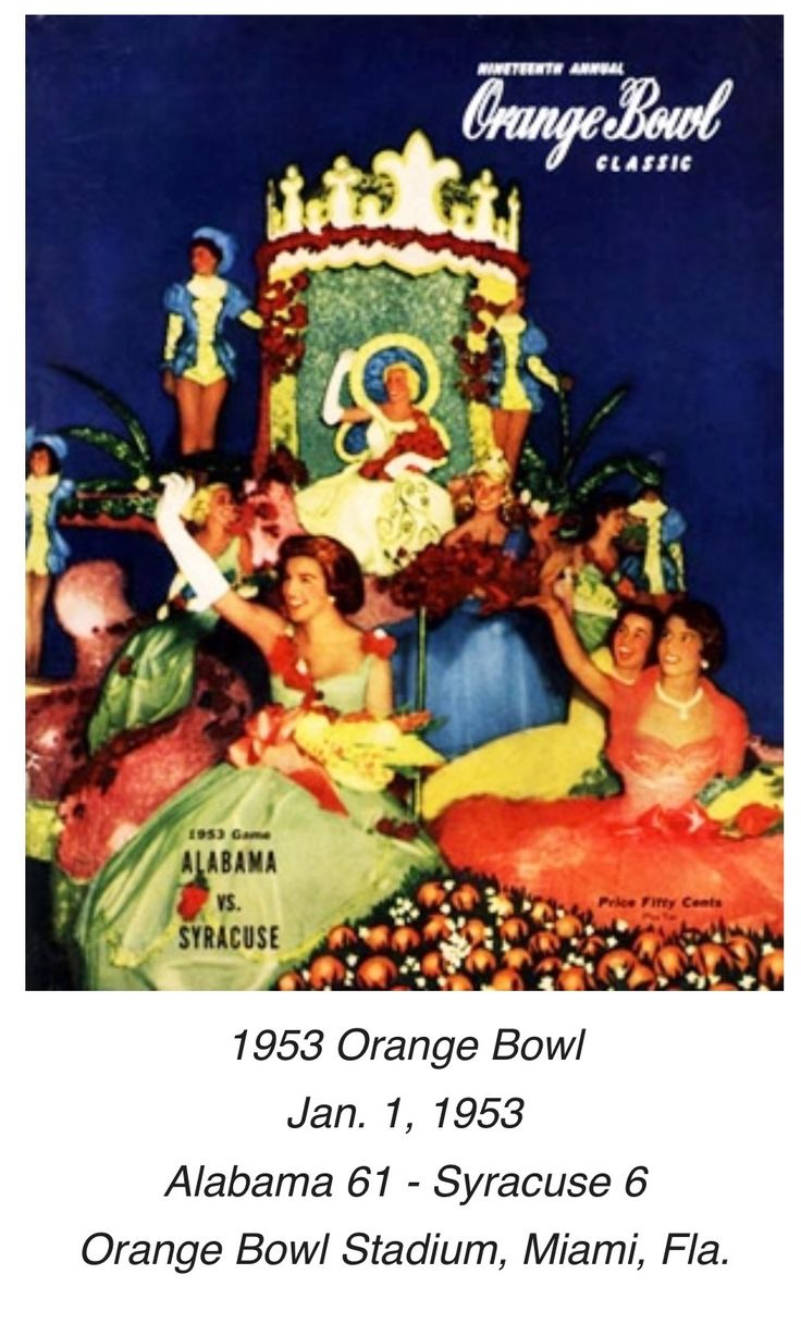 Historic Alabama Game Programs from RollBamaRoll.com / 1953 Orange Bowl #Alabama #RollTide #Bama #BuiltByBama #RTR #CrimsonTide #RammerJammer