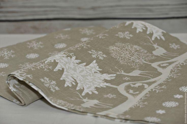 """Купить Льняная дорожка на стол """"Новогодняя сказка"""" праздничная сервировка - серый, дорожка на стол"""
