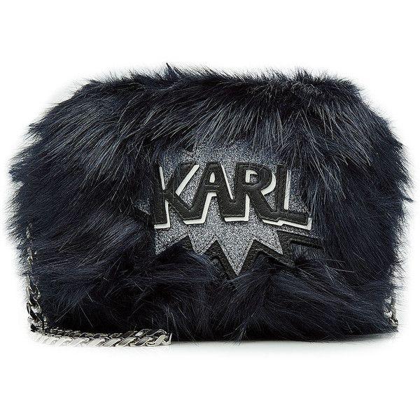 Karl Lagerfeld Faux Fur Shoulder Bag (€210) ❤ liked on Polyvore featuring bags, handbags, shoulder bags, blue, glitter handbag, faux fur handbags, karl lagerfeld handbags, cartoon purse and blue handbags