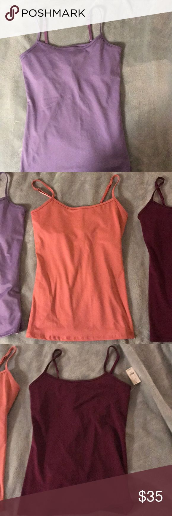 New York and company shelf bra camisoles 3 different shelf bra camisoles. Pink, purple, and maroon. The maroon comes nwt New York & Company Tops Camisoles