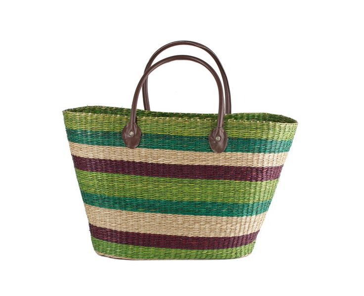 Väska randig av sjögräs grön/beige/brun 53x33cm