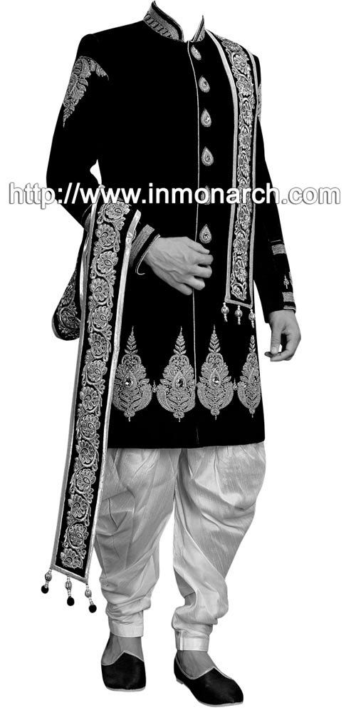 Designer indo western sherwani made from black color uncrushable velvet fabric. Silver hand embroidered as shown. It has bottom as breeches style
