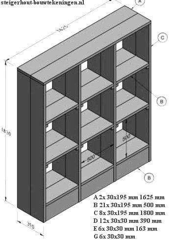 Bouwtekening met maten voor een #wandmeubel - kast zonder deuren. Bouwtekening voor een #vakkenkast van steigerhout.
