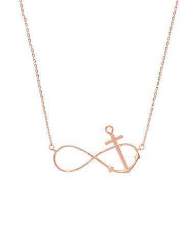 Look at this #zulilyfind! Rose Gold Anchor & Infinity Necklace #zulilyfinds