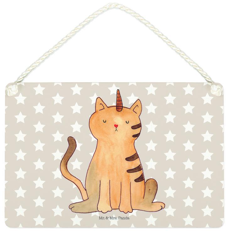Deko Schild Einhorn Katze aus MDF  Weiß - Das Original von Mr. & Mrs. Panda.  Ein wunderschönes Schild aus der Manufaktur von Mr. & Mrs. Panda - die Schilder werden von uns direkt nach der Bestellung liebevoll bedruckt und mit einer wunderschönen Kordel zum Aufhängen versehen.    Über unser Motiv Einhorn Katze  Das Kittyhorn ist das wohl magischste Haustier überhaupt. Perfekt für diejenigen, die nicht wissen, wen sie lieber haben: Einhörner oder Katzen. Das Kittyhorn verbindet einfach…