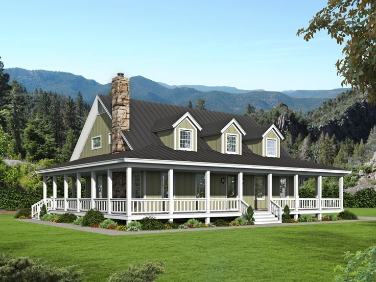 062h 0241 Country House Plan In 2020 Porch House Plans Country Style House Plans Country House Plan