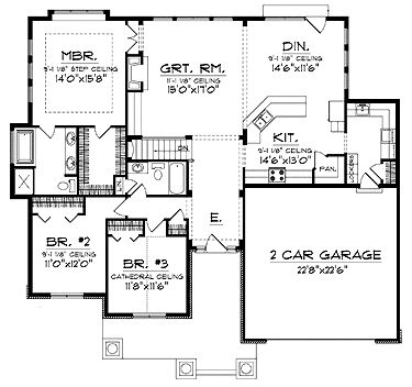 Ranch with a spacious open floor plan hwbdo13934 for 1800 sq ft open floor plans