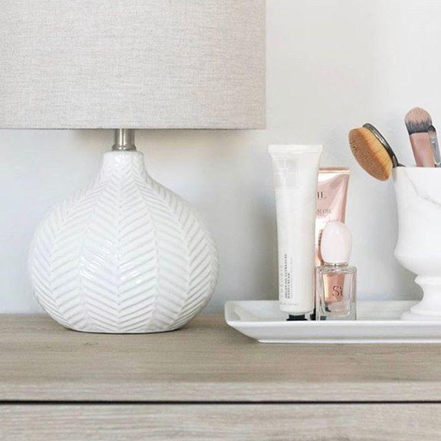 white herringbone lamp