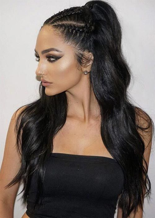 Pretty Holiday Hairstyles Ideas Cornrowed Half Up Hairstyle