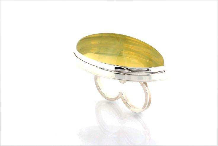 PIMP YOUR FINGERS* handmade double-finger-ring, polished silver, lemon citrine cabochon