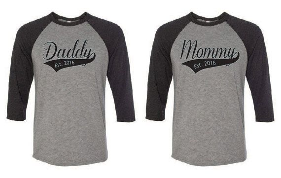 Welcome to Gift Shop Boutique! Thank you for checking out our shop!  Mommy Daddy Baseball 3/4 Sleeve T-Shirts Purchase includes 1 Mommy and 1 Daddy baseball tee Bella/Canvas brand Unisex Semi-fitted Shirt, 3.6 oz 52% Combed and Ringspun Cotton, 48% Polyester Direct to garment printed for soft wearable feel   Mommy and Daddy baseball tees come with a customizable established year.  Care Instructions: This item may be machine washed, but we recommend line drying to preserve garment.  Sizing…