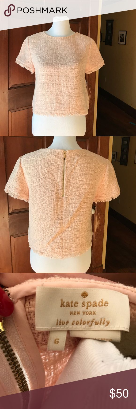 Kate Spade peach woven fringe top Slightly cropped, peach or ballet pink woven, back zip top kate spade Tops Crop Tops