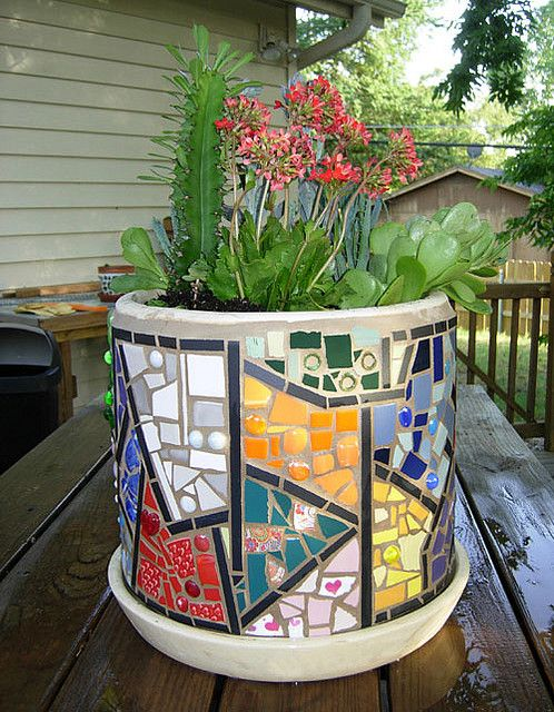 mosaic planter with succulents June 08