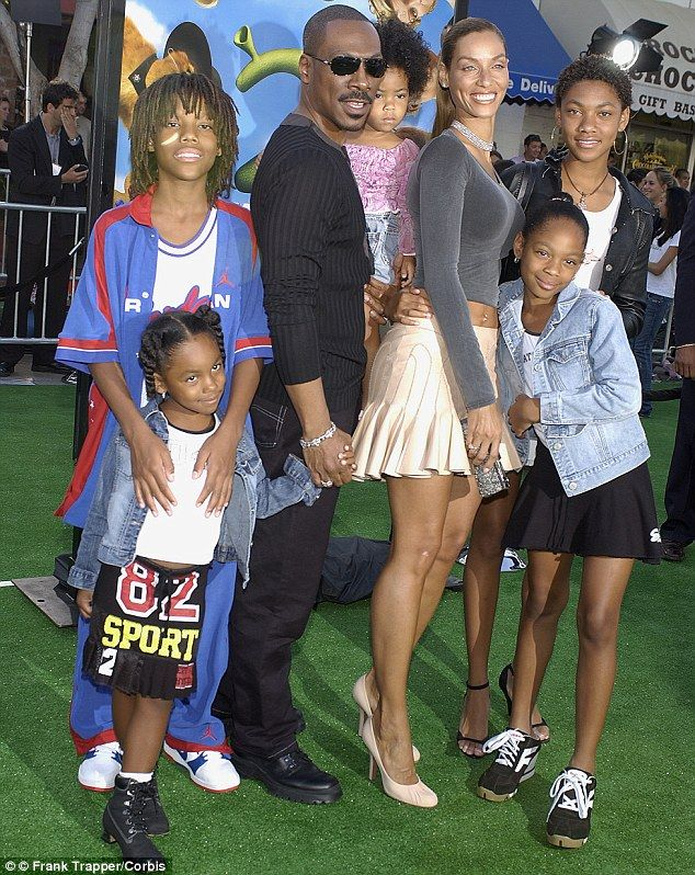 Image: Eddie Murphy with ex-wife Nicole Mitchell and children