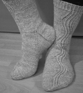 November socks- Free pattern! The wavy ribbing is interesting, and definitely something different.
