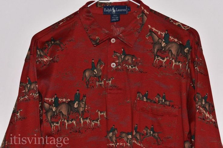 True Vintage Polo Ralph Lauren Equestrian & Foxhounds Large Red Pullover Shirt L | Clothing, Shoes & Accessories, Women's Clothing, Tops & Blouses | eBay!