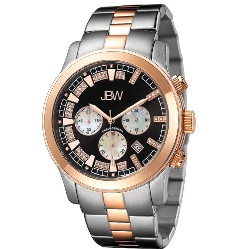 "JBW Men's JB-6218-D ""Delano"" Stainless Steel Chronograph Diamond Watch JBW. $213.00. Diamond accented dial: 22 round-cut white diamonds with 0.21 CTW. Durable two-tone rose gold and stainless steel case with deployment clasp. Highest Standard Quartz Chronograph Movement. Water-resistant to 165 feet (50 M). Three diamond encrusts on each marker on the right and one diamond on each marker on the left of the black dial. 3 white mother of pearl sub dials. Save 85%!"