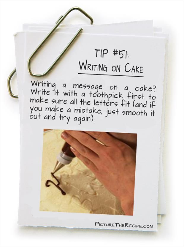 Write on cake with toothpick before using piping