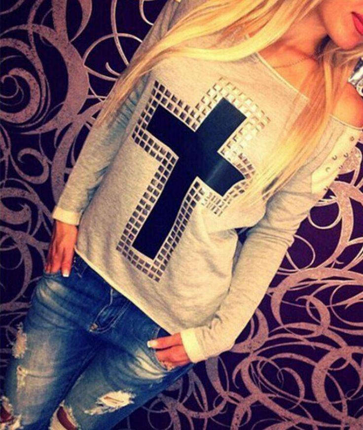 #AdoreWe #CupShe CUPSHE❤️Designer T-Shirts Metal Freedom Cross Sweatshirt -  AdoreWe