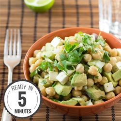 Vegetarian Avocado Chickpea Salad. Supercharge Your Lunch: High in protein, fiber and put together in 5 minutes before you go to work. Easy and tasty.