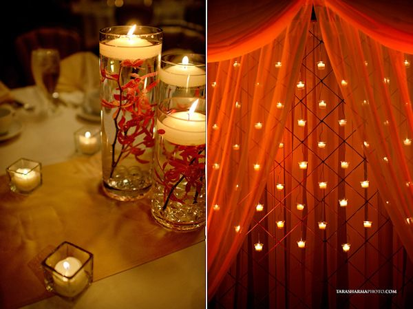 the color of flower with floating candle