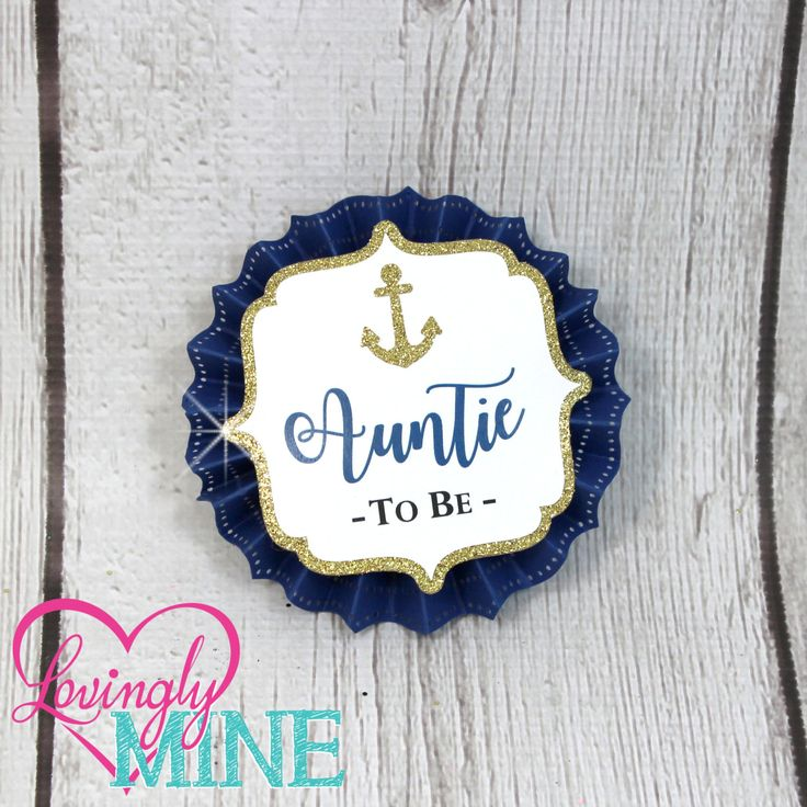 Name Tags/Corsages - Navy Blue, White & Glitter Gold Nautical Baby Shower Cardstock Corsages by LovinglyMine on Etsy