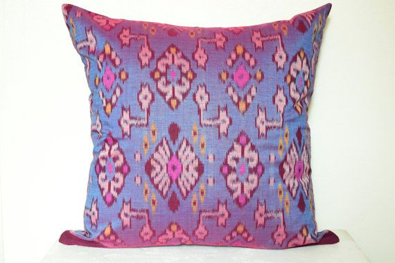 20 x 20 Purple Blue Ikat Cushion Cover Pillow Cover by IkatPikat