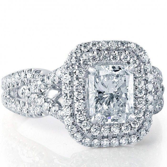 2.03 Ct Radiant Cut Engagement Ring, Double Halo Ring, Diamond Engagement Ring,18k White Gold, Split Shank Love Promise Diamond, Womens Ring