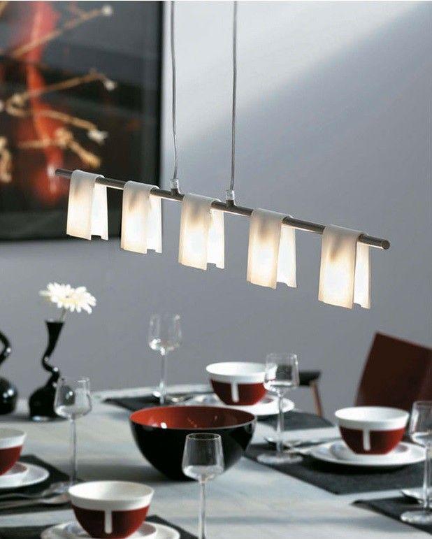 Perfekte #Lampe fürs #Esszimmer!  Fast scheint es, als seien die Lampenschirme einfach über die Halterung aus gebürstetem Stahl geworfen werden. Doch keine Sorge, die Lampenköpfe sind fest in dieser Leuchte integriert. Sie bestehen aus satiniertem Glas, und unterstützen...