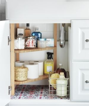 Bathroom storage and organizing ideas corner shelves for Real simple bathroom ideas