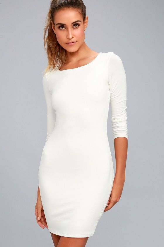 52ce94e2847 The Peak of Chic White Long Sleeve Bodycon Dress is at the top of the most  stylish list! Jersey knit bodycon dress with long sleeves and a sexy mini  skirt.