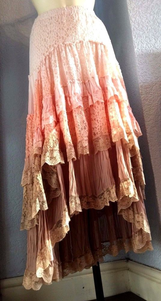 Ladies Vintage Gypsy Style Boho Tiered SKIRT Lined 14/16 - Together kaleidoscope…