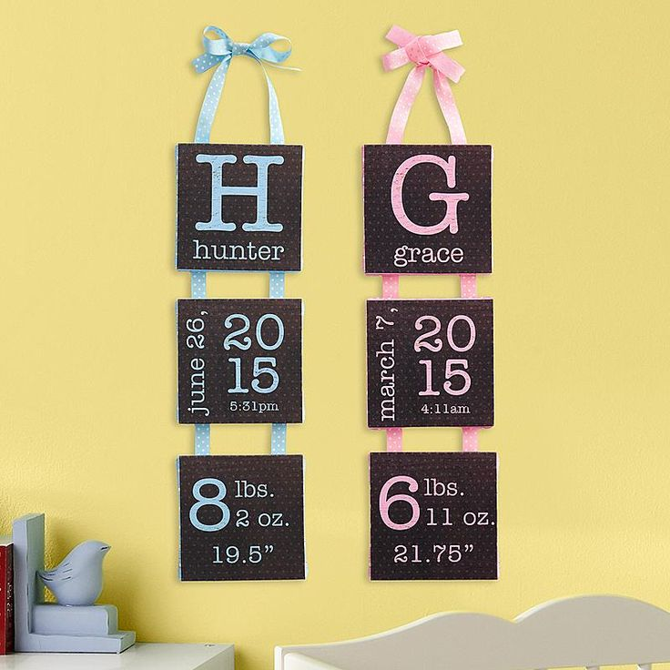 "A Personal Creations Exclusive! A creative way to display your little ones birth information.  We personalize canvas with any name up to 10 characters, baby's birth month, day and year, time, weight & length.  Choose from pink or blue.  Comes with ribbon for hanging.  Measures 5""W x 18""H."