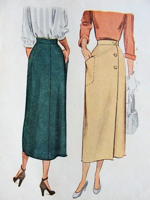 1940s CLASSY SLIM WRAP AROUND SKIRT PATTERN McCALL 7516 VINTAGE SEWING PATTERNS