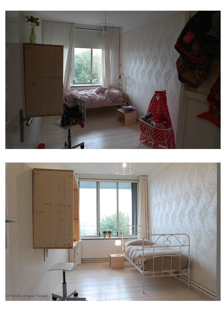 Voor en na verkoopstyling meisjes slaapkamer