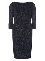 Womens **Billie & Blossom Navy Animal Print Bodycon Dress- Blue