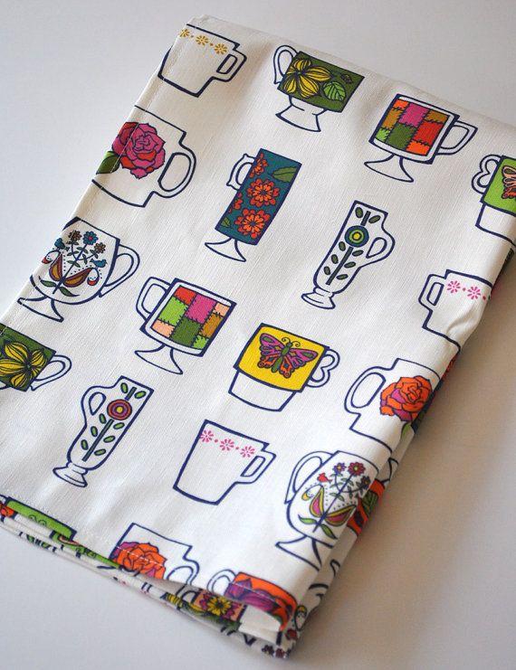 vintage mugs   tea towel  linencotton  kitchen by KatherineCodega, $18.00